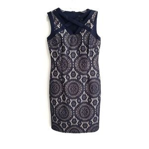 Enfocus Studio / Navy Lace Overlay Sheath Dress